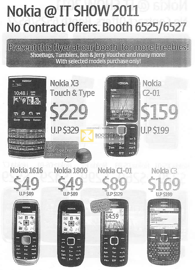 IT Show 2011 price list image brochure of NBRC Nokia Mobile Phones Nokia X3 C2-01 1616 1800 C1-01 C3
