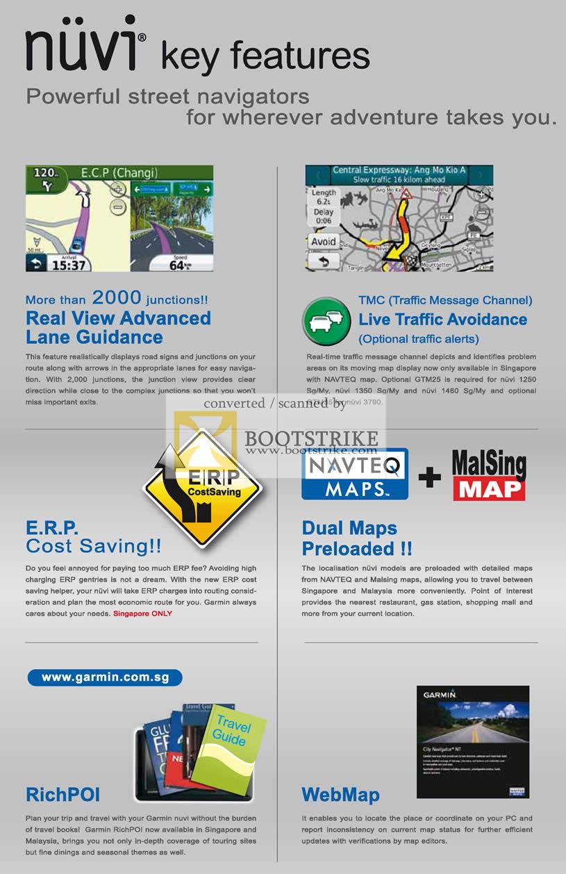 IT Show 2011 price list image brochure of Navicom Garmin GPS Nuvi Key Features ERP Real View Lane Guidance TMC WebMap RichPOI