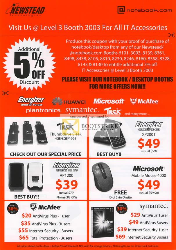 IT Show 2011 price list image brochure of Newstead 5 Percent Off Accessories Trek Flash Energizer XP2001 AP1200 Microsoft Mobile Mouse 4000 Mcafee Antivirus Internet Security Symantec Norton