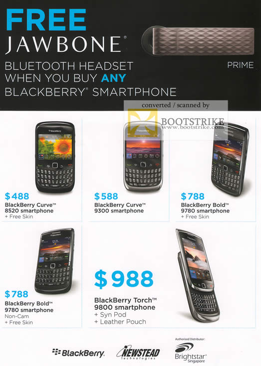 IT Show 2011 price list image brochure of Newstead Blackberry Smartphones Curve 8520 9300 Bold 9780 Torch 9800
