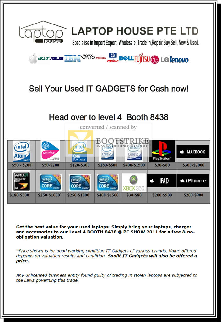 IT Show 2011 price list image brochure of Newstead Laptop House Sell Notebooks Used IT Gadgets