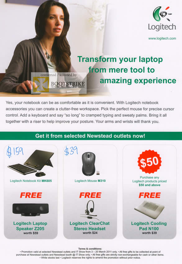 IT Show 2011 price list image brochure of Newstead Logitech Notebook Kit MK605 M310