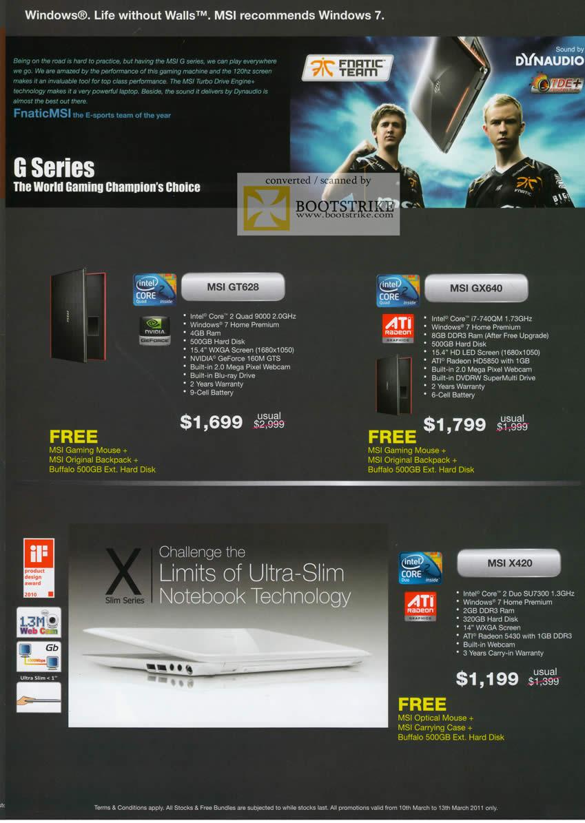 IT Show 2011 price list image brochure of Newstead MSI Notebooks GT628 GX640 X420