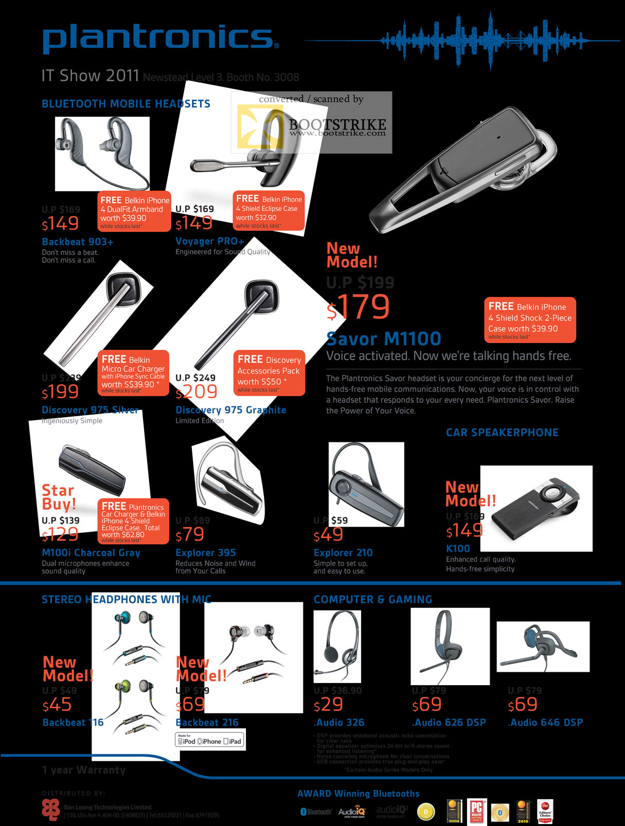 IT Show 2011 price list image brochure of Newstead Plantronics Bluetooth Headsets Backbeat 903 Voyager Pro Savor M1100 Discovery 975 Silver Graphite M100i Explorer Audio DSP