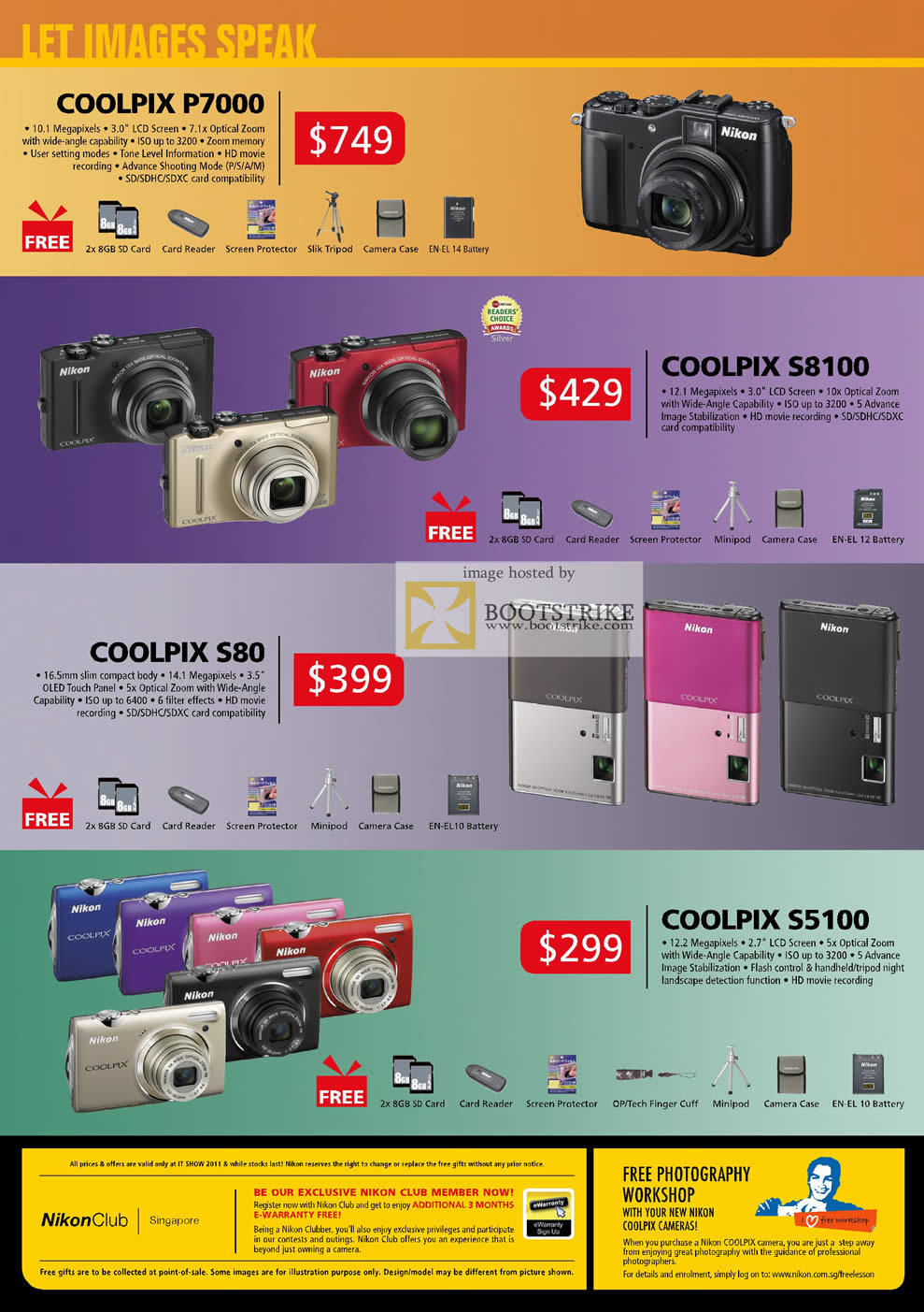 IT Show 2011 price list image brochure of Nikon Digital Cameras Coolpix P7000 S8100 S80 S5100