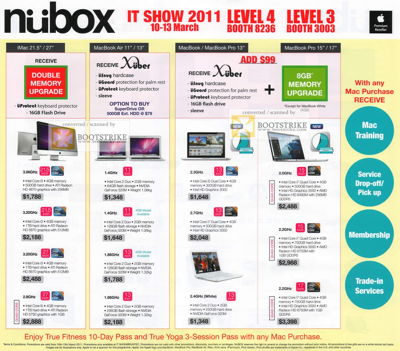 IT Show 2011 price list image brochure of Nubox Apple IMac MacBook Air MacBook Pro Notebooks Desktop PC