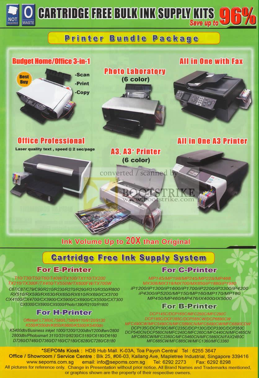 IT Show 2011 price list image brochure of Nuink Sepoms Printer Bundle Packages Free Ink Supply System