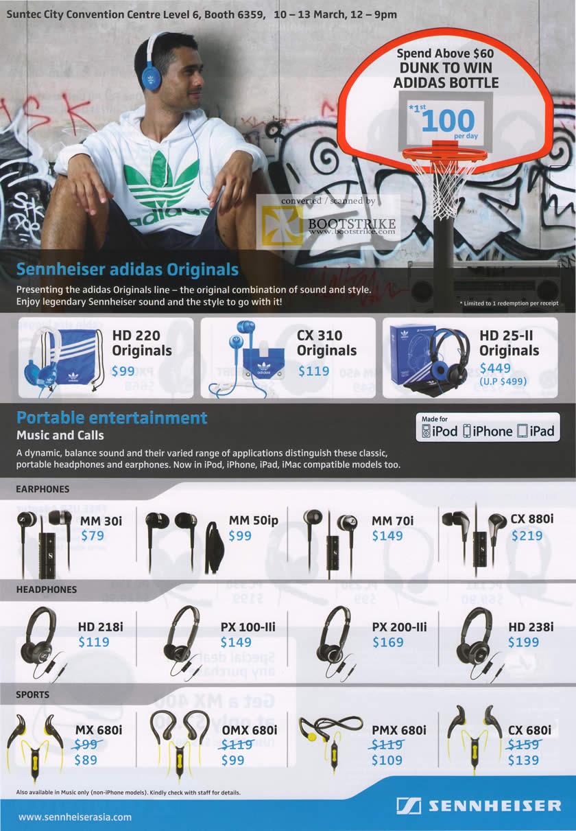 IT Show 2011 price list image brochure of Pan Trade Sennheiser Adidas HD 220 CX310 25-II Earphones MM 30I 50IP 70I CX880I 218I PX100-LLI PX200-LLI 238I MX 680I OMX 680I PMX 680I