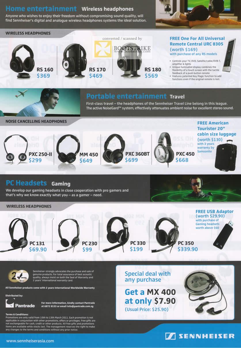 IT Show 2011 price list image brochure of Pan Trade Sennheiser Wireless Headphones RS 160 170 180 PXE 250-II MM 450 360BT 450 PC 131 230 330 350