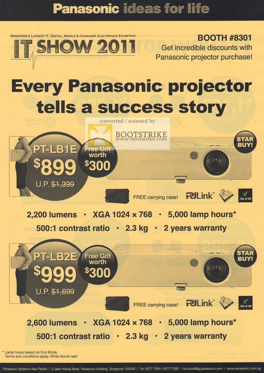 IT Show 2011 price list image brochure of Panasonic Projectors PT-LB1E PT-LB2E