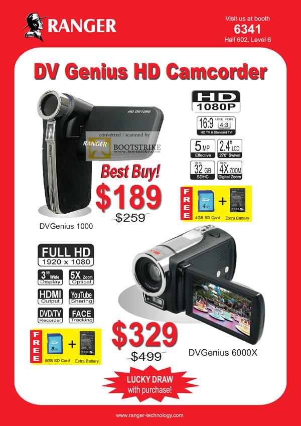 IT Show 2011 price list image brochure of Ranger DV Genius HD Camcorder 1000 6000X