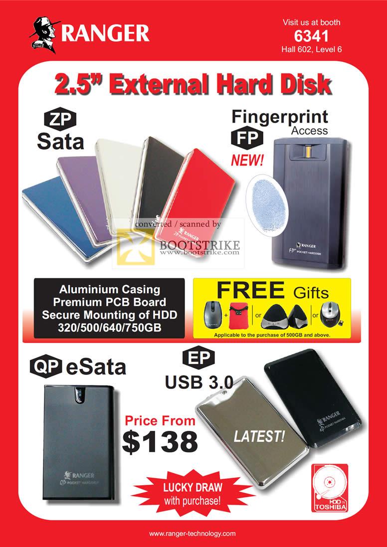 IT Show 2011 price list image brochure of Ranger External Storage Drive Sata FP Fingerprint QP ESata EP Toshiba