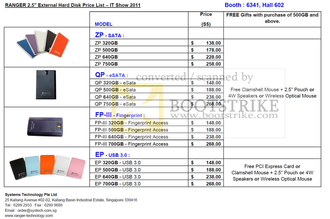 IT Show 2011 price list image brochure of Ranger External Storage Drive ZP Sata QP ESata FP-III EP USB Prices