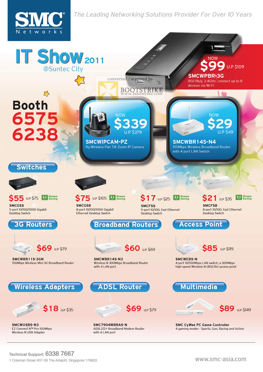 IT Show 2011 price list image brochure of SMC Networks Switches 3G Routers ADSL Wireless IPCam SMCWIPCAM-PZ SMCWPBR-3G SMCWBR14S-N4 Cywee