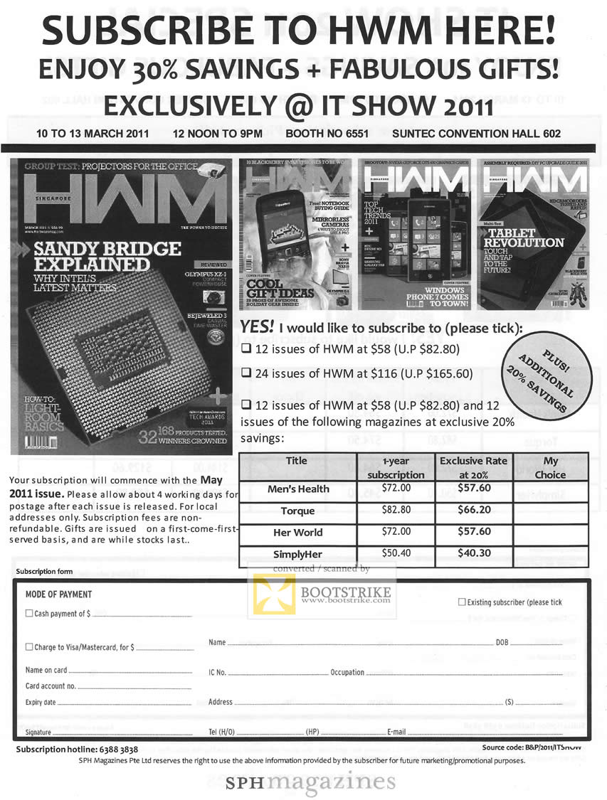 IT Show 2011 price list image brochure of SPH Magazines HWM HardwareMag Subscription