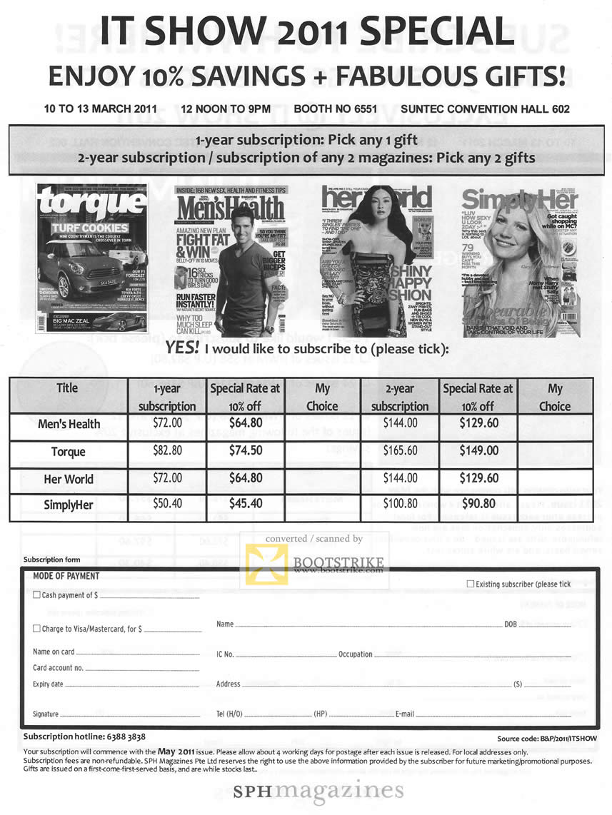 IT Show 2011 price list image brochure of SPH Magazines Torque Men's Health Her World Simply Her Subscription