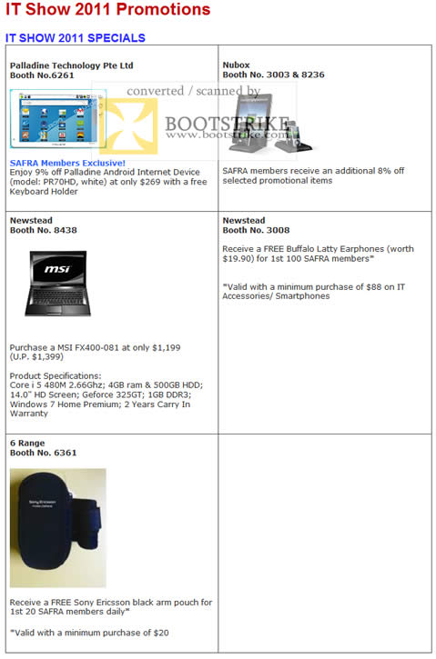 IT Show 2011 price list image brochure of Safra Membership Drive Partner Promotions Palladine Android Nubox Newstead MSI Buffalo 6Range