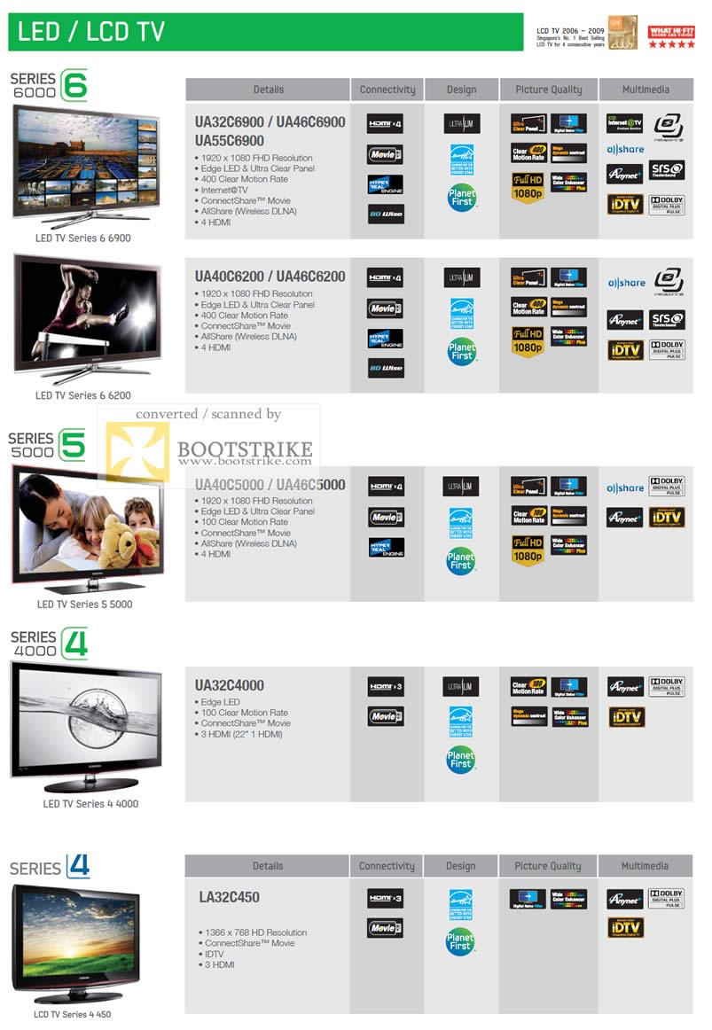 IT Show 2011 price list image brochure of Samsung LED LCD TV UA32C6900 UA40C6200 UA40C5000 UA32C4000 LA32C450 Series 5 4 6 Best Denki