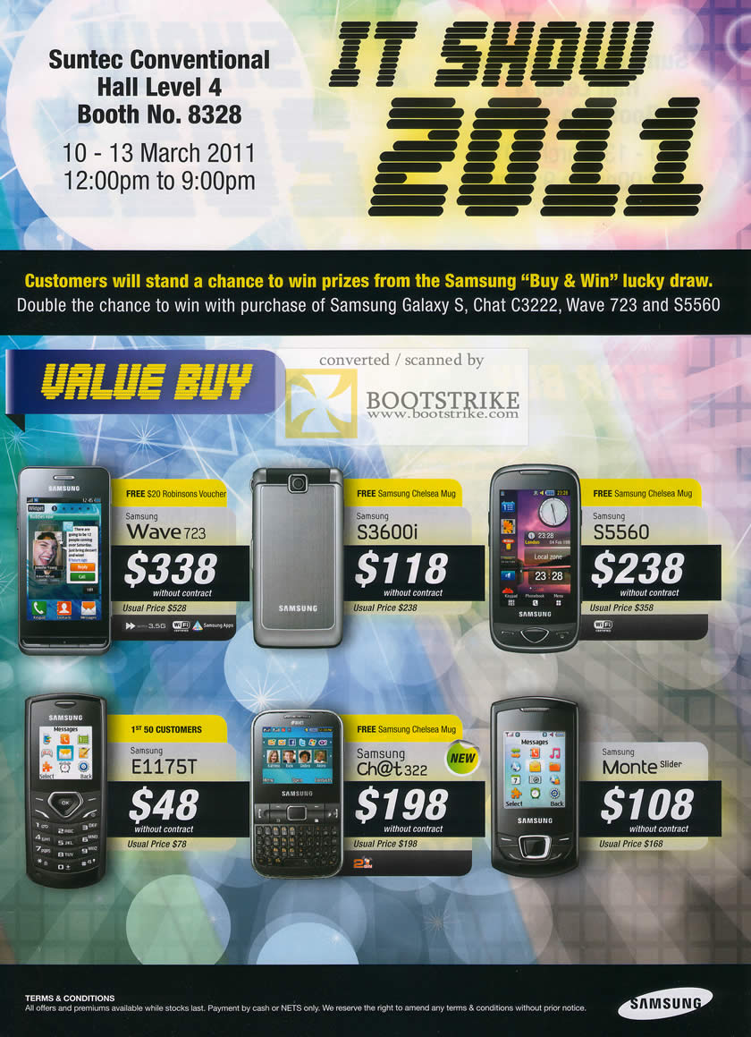 IT Show 2011 price list image brochure of Samsung Mobile Phones Wave 723 S3600i S5560 E1175T Chat 322 Monte Slider