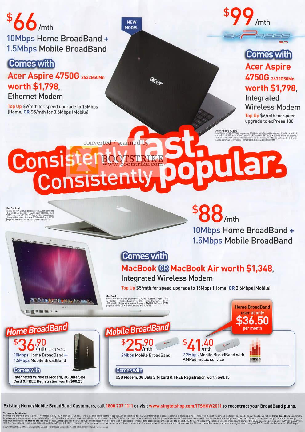 IT Show 2011 price list image brochure of Singtel Acer Aspire 4750G Home Broadband Mobile MacBook Air 10Mbps