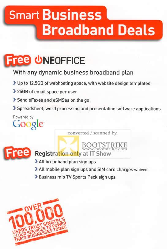IT Show 2011 price list image brochure of Singtel Business Broadband Free Oneoffice