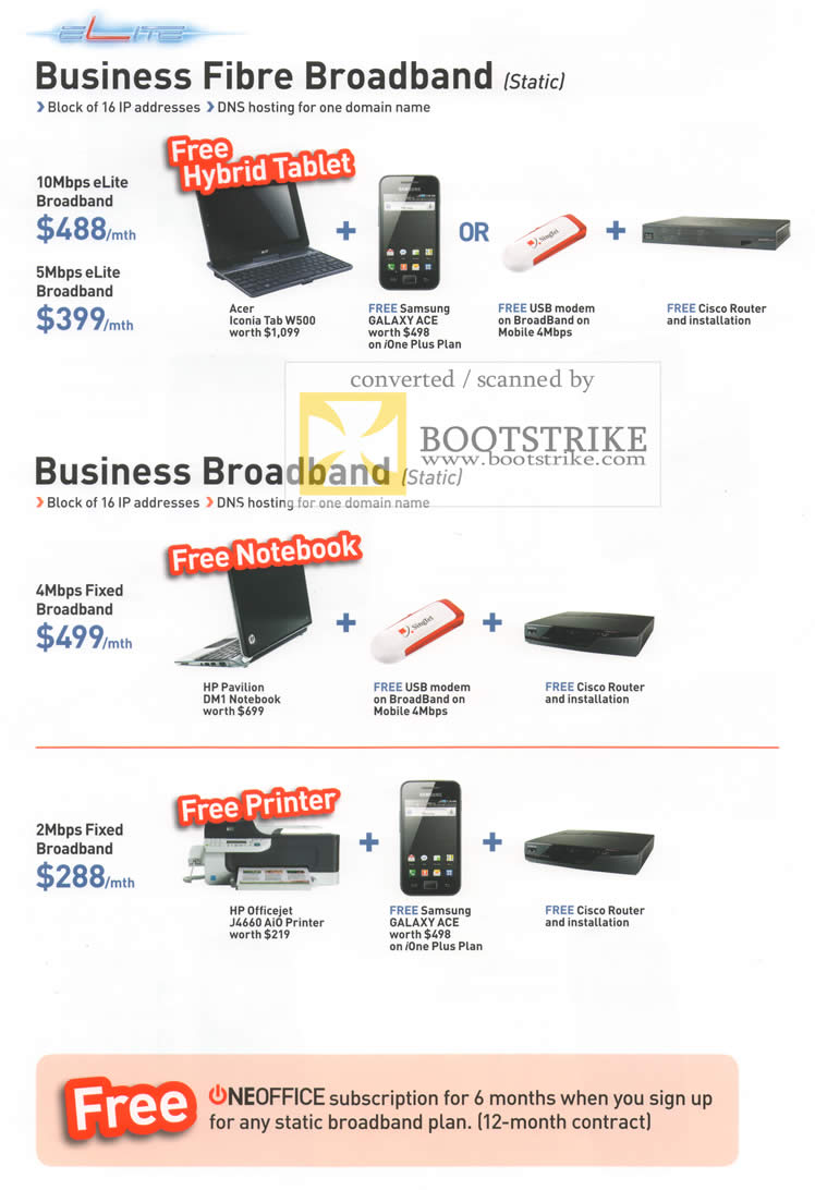 IT Show 2011 price list image brochure of Singtel Business Fibre Broadband Acer Iconia Tab W500 Pavilion DM1 Officejet J4660 Samsung Galaxy Ace Cisco Router