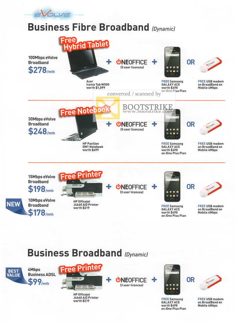 IT Show 2011 price list image brochure of Singtel Business Fibre Broadband EVolve Oneoffice Samsung Galaxy Ace HP Officejet