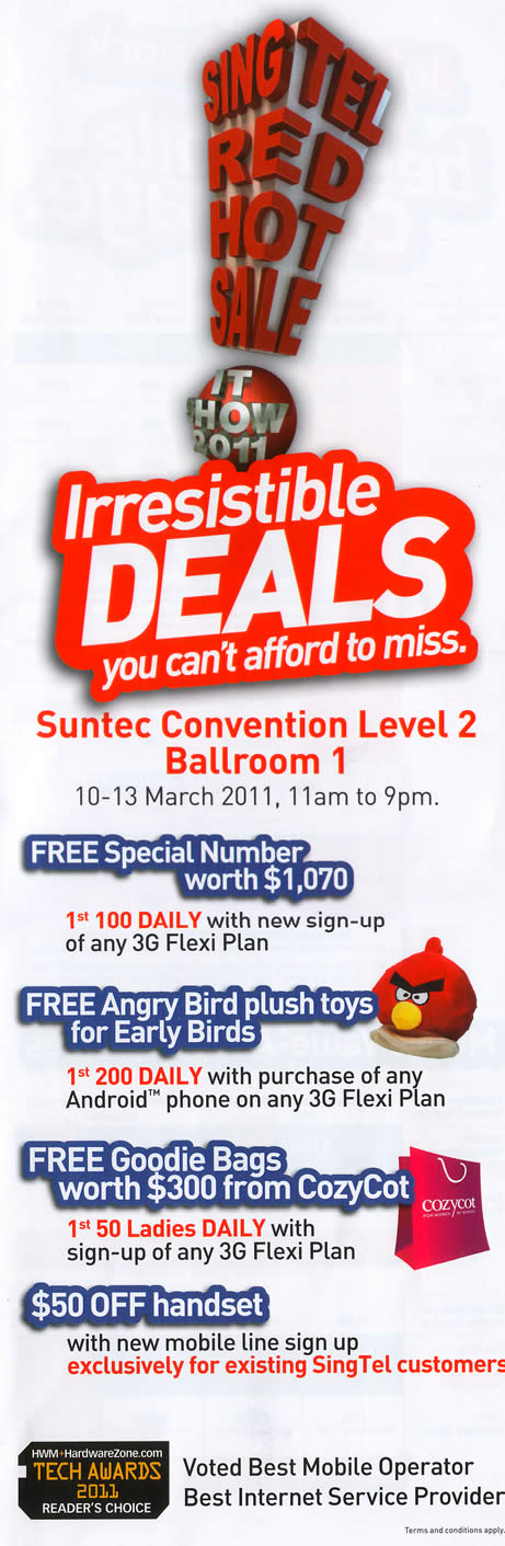 IT Show 2011 price list image brochure of Singtel Free Special Number Angry Bird Plush Toy CozyCot