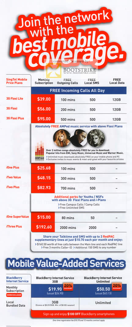 IT Show 2011 price list image brochure of Singtel Mobile Price Plans 3G IOne ITwo IThree
