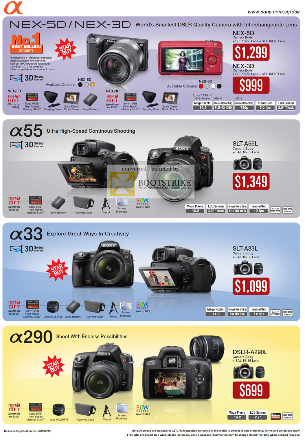 Camera Sony Dslr Camera Price List sony alpha digital cameras dslr nex 5d 3d a55 a33 a290 it show 2011 price list image brochure of 5d