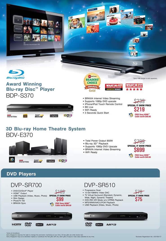 IT Show 2011 price list image brochure of Sony Blu Ray Disc Player BDP-S370 Home Theatre System BDV-E370 DVD DVP-SR700 DVP-SR510