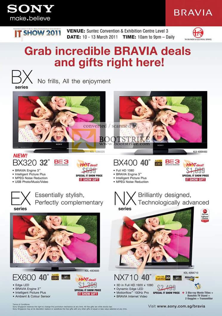 IT Show 2011 price list image brochure of Sony Bravia TV BX BX320 BX400 EX EX600 NX NX710 Edge LED