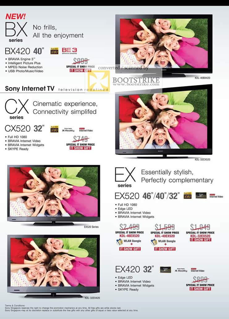 IT Show 2011 price list image brochure of Sony Bravia TV BX Series BX420 CX CX520 EX EX520 EX420 Edge LED