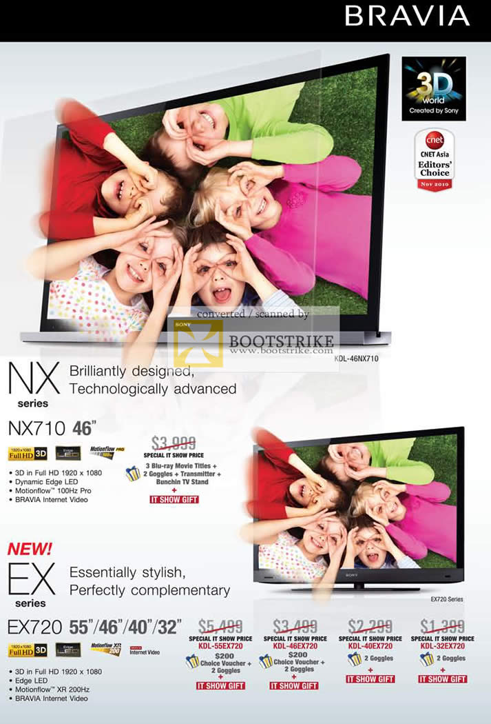 IT Show 2011 price list image brochure of Sony Bravia TV NX NX710 EX EX720 Edge LED