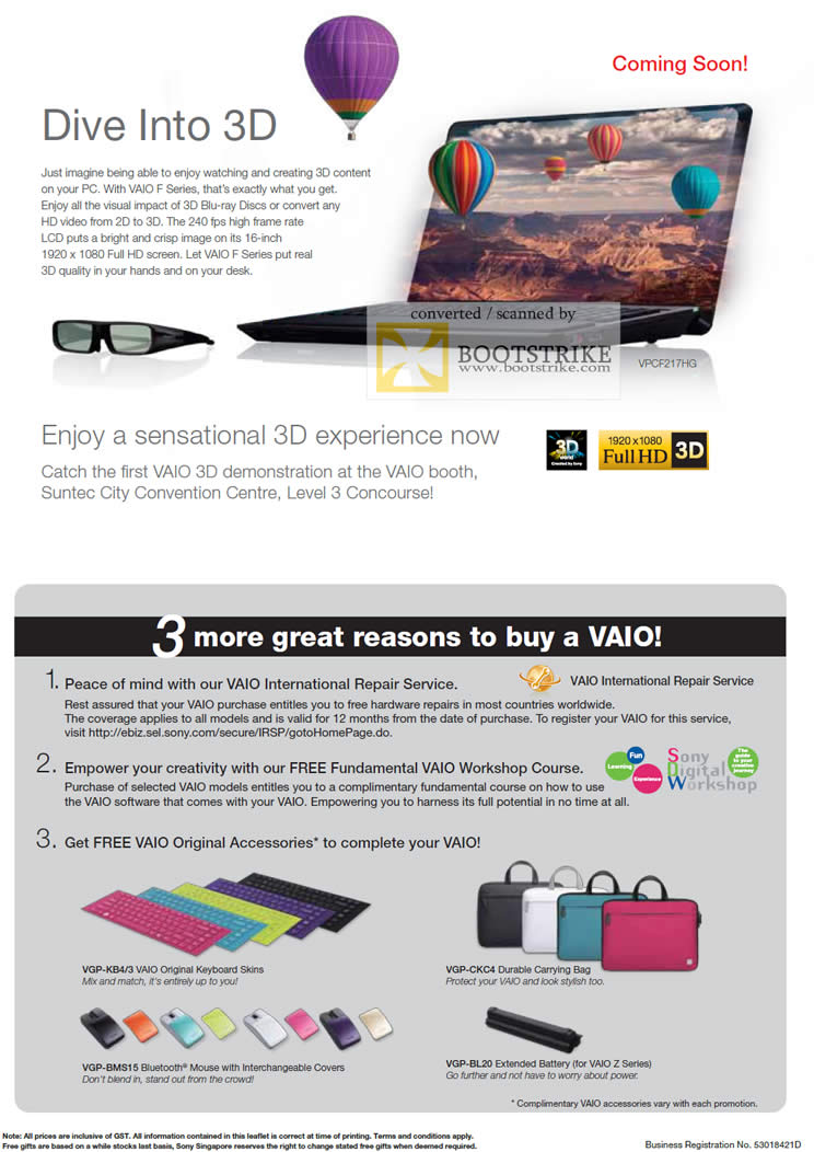 IT Show 2011 price list image brochure of Sony Notebooks Dive Into 3D 3 Great Reasons To Buy Vaio