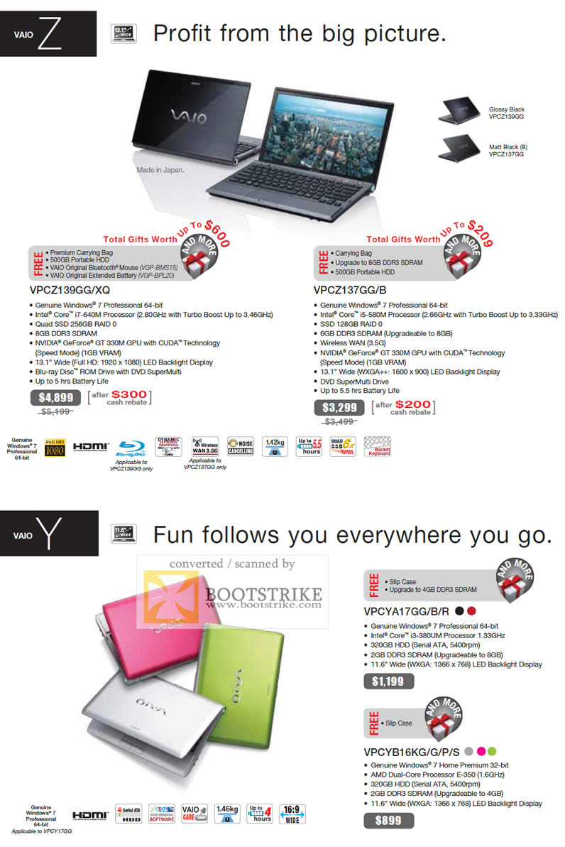 IT Show 2011 price list image brochure of Sony Notebooks Vaio Z VPCZ139GG XQ VPCZ137GG VPCYA17GG VPCYB16KG