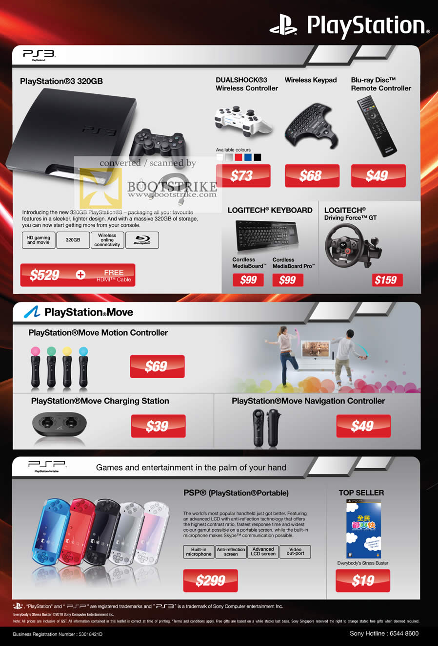IT Show 2011 price list image brochure of Sony Playstation 3 PS3 320GB Dualshock 3 Wireless Blu Ray Disc Remote Logitech MediaBoard Pro Driving Force GT Move Motion Controller Charging Navigation PSP Portable