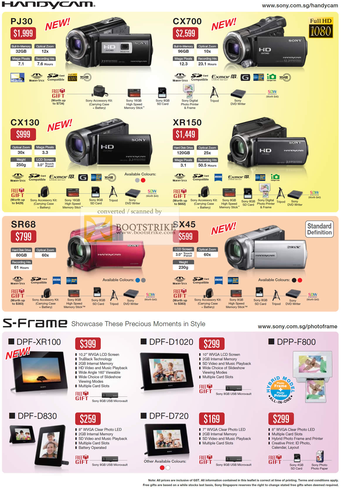 IT Show 2011 price list image brochure of Sony Video Camcorders Handycam PJ30 CX700 CX130 XR150 SR68 SX45 S-Frame Digital Frame DPF-XR100 D1020 D830 D720