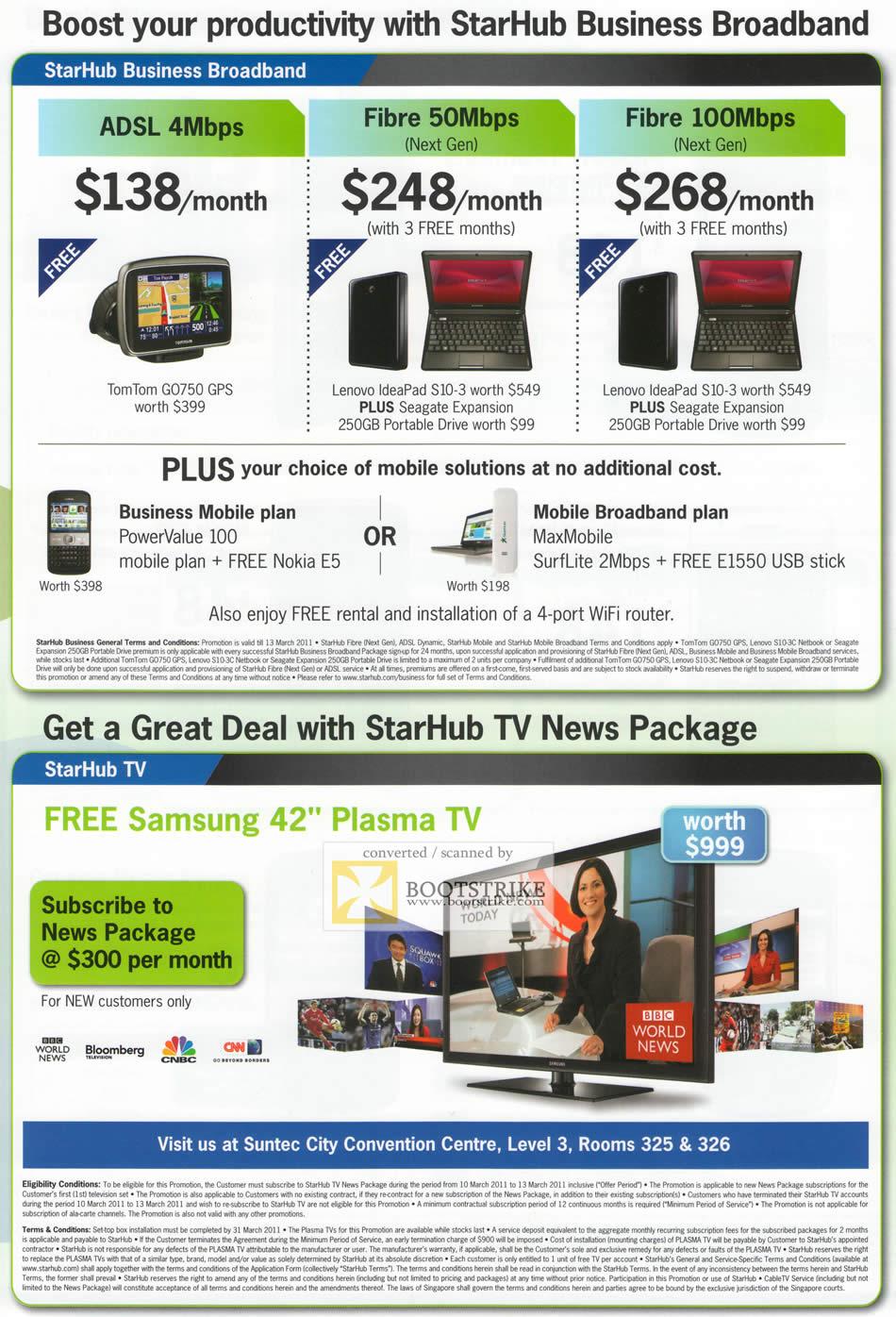 IT Show 2011 price list image brochure of Starhub Business Broadband ADSL Fibre TV News Plasma TV