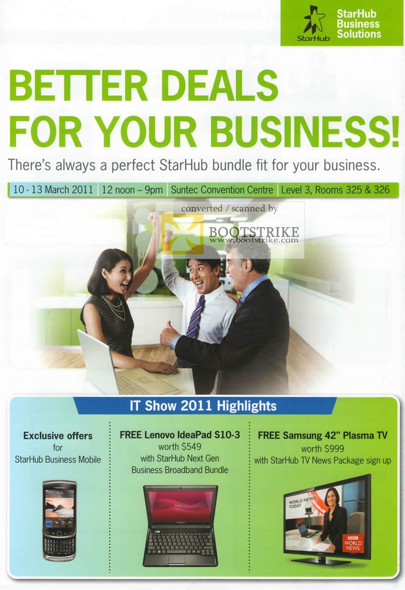 IT Show 2011 price list image brochure of Starhub Business Lenovo Ideapad S10-3 Samsung Plasma TV