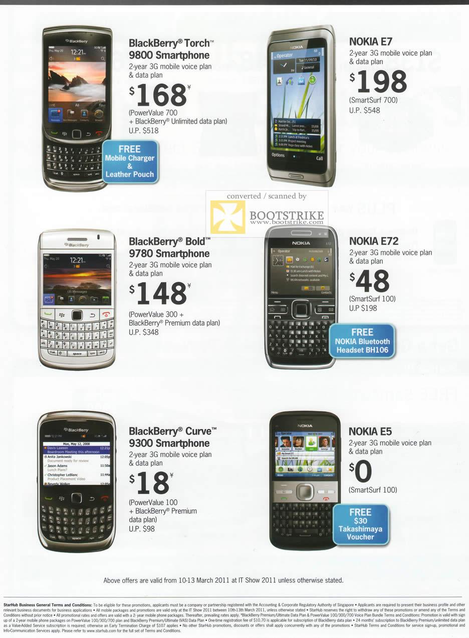 IT Show 2011 price list image brochure of Starhub Business Mobile Phones Blackberry Torch 9800 Nokia E7 Bold 9780 E72 Curve 9300 E5
