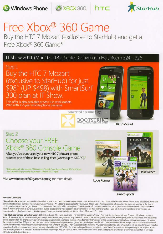 IT Show 2011 price list image brochure of Starhub Free Xbox 360 Game HTC 7 Mozart