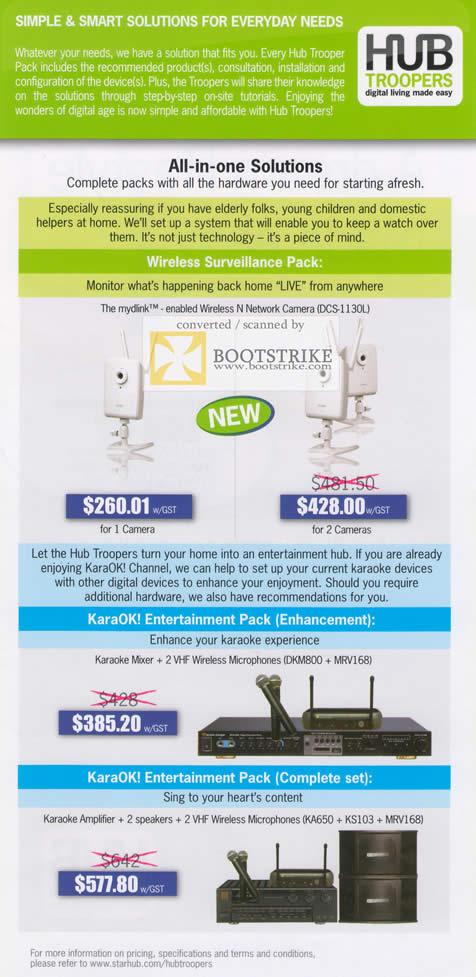 IT Show 2011 price list image brochure of Starhub Hub Troopers Wireless Surveilliance Pack DCS-1130U IPCam KaraOK VHF Mydlink