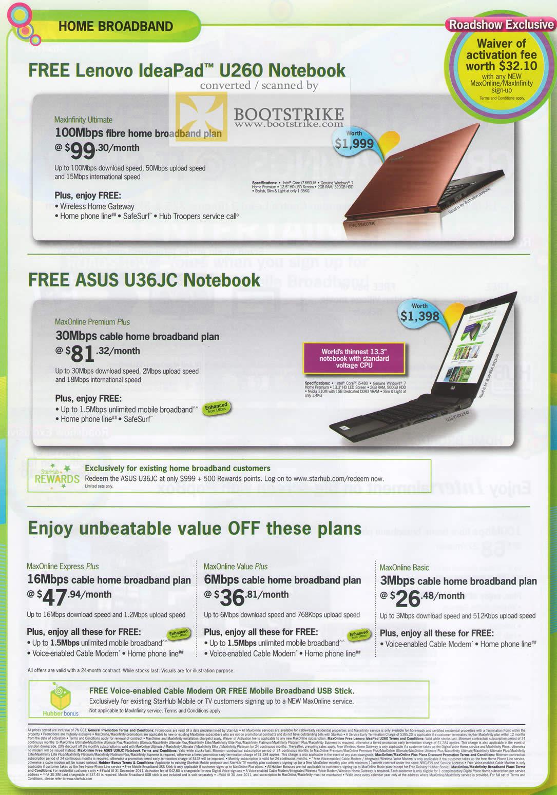 IT Show 2011 price list image brochure of Starhub Lenovo Ideapad U260 ASUS U36JC Fibre Maxonline Express Value Basic