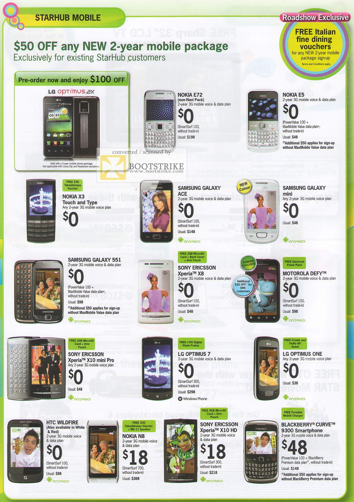 IT Show 2011 price list image brochure of Starhub Mobile Phones LG Optimus 2X Nokia E72 E5 X3 Samsung Sony Ericsson Motorola Defy Xperia LG Sony Ericsson BlackBerry