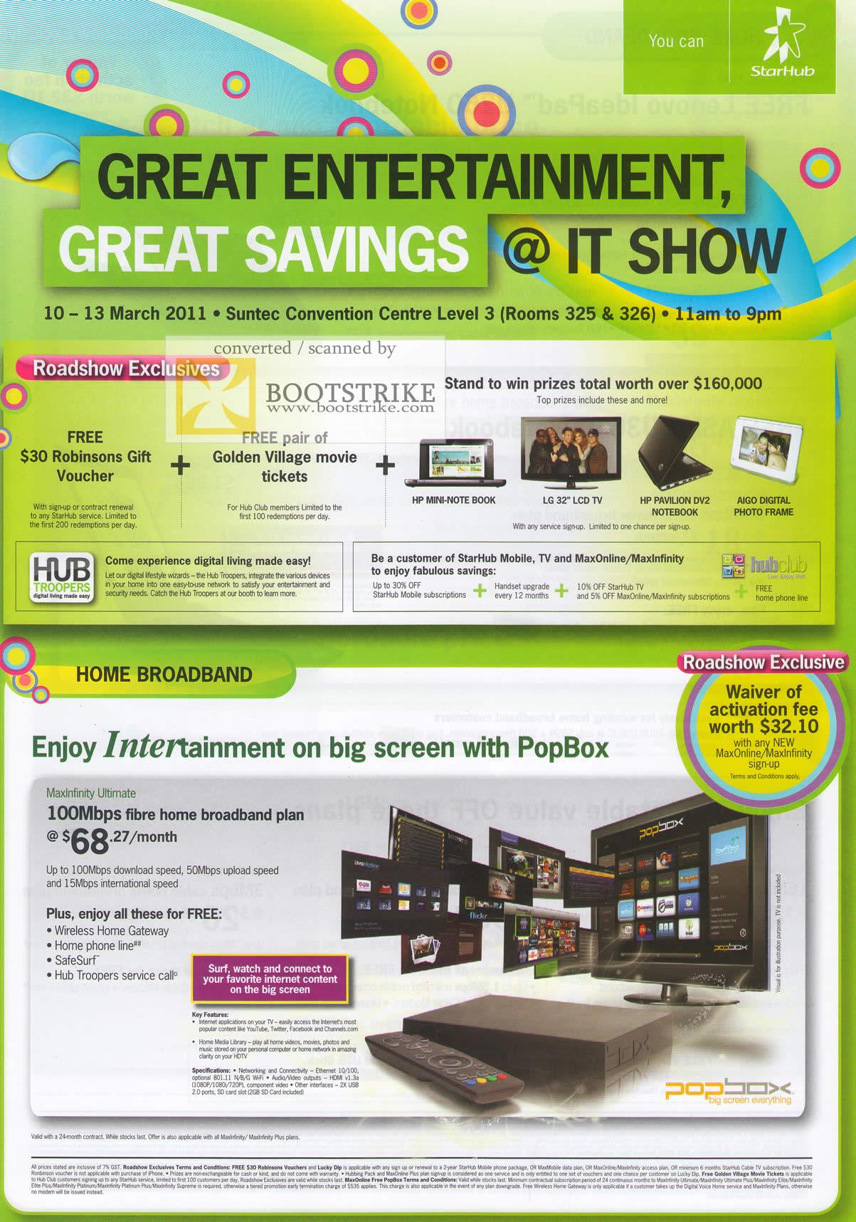 IT Show 2011 price list image brochure of Starhub Roadshow Exclusives Home Broadband PopBox Intertainment Fibre 100Mbps