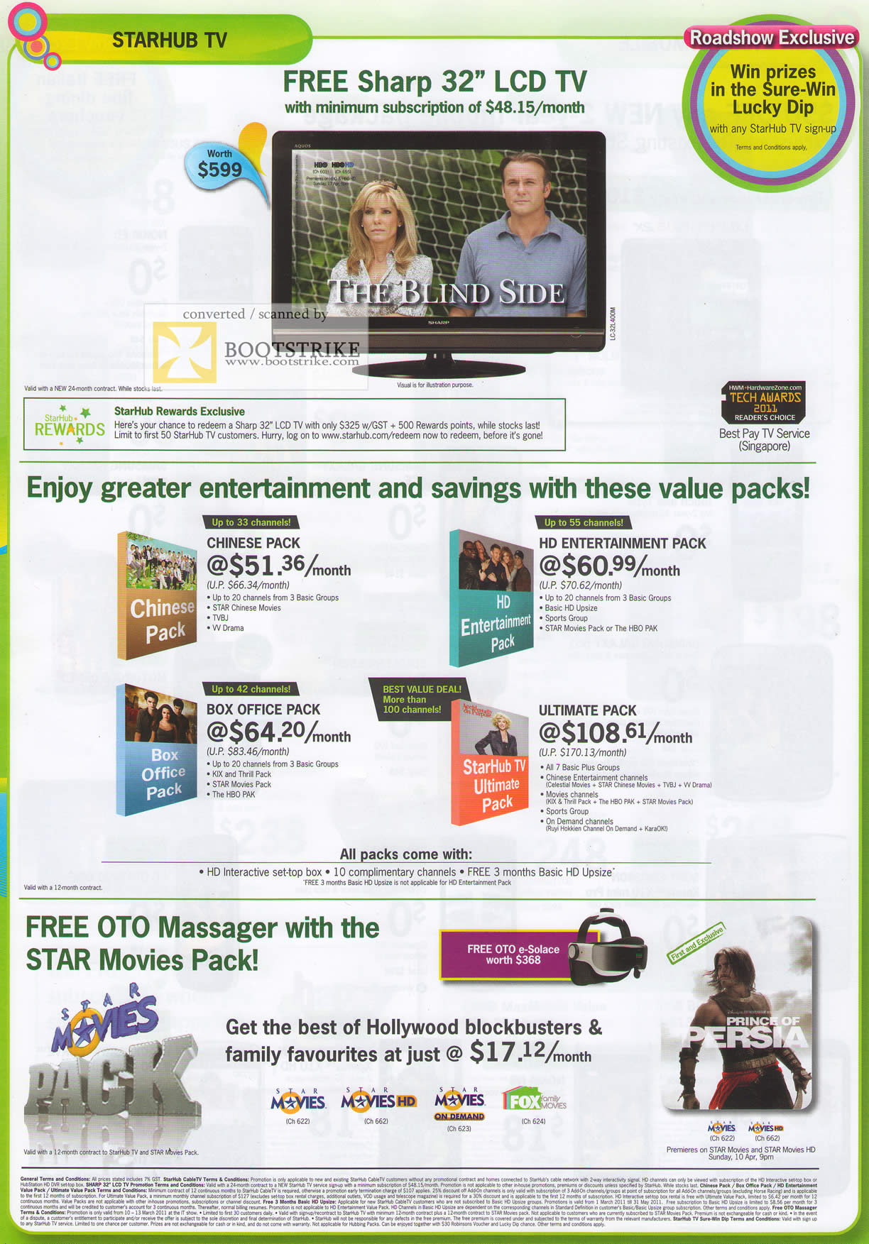 IT Show 2011 price list image brochure of Starhub TV Free Sharp 32 LCD TV Chinese Pack Box Office HD Ultimate Pack OTO Massager
