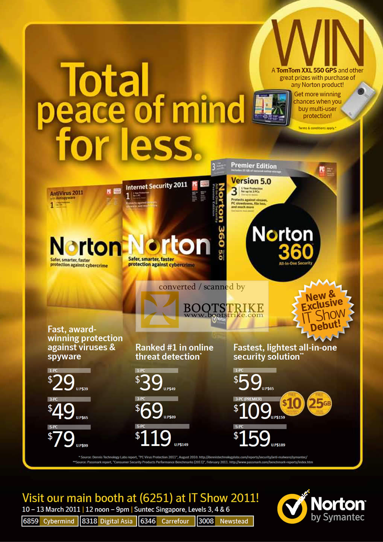IT Show 2011 price list image brochure of Symantec Norton AntiVirus 2011 Internet Security Norton 360 Version 5