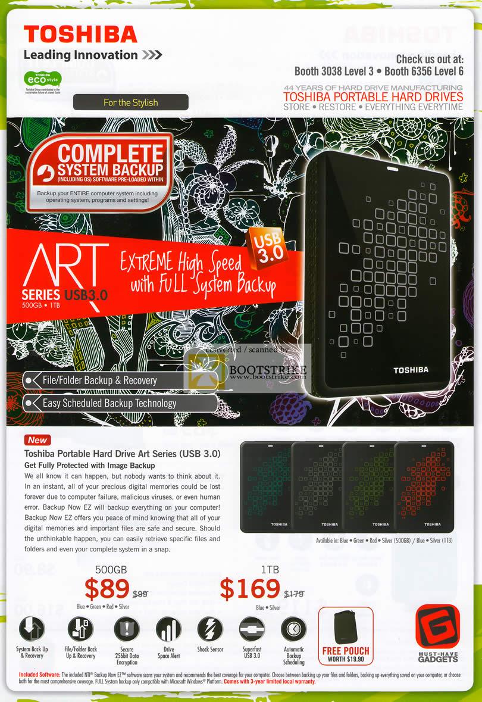 IT Show 2011 price list image brochure of Toshiba External Storage Art Series Image Backup