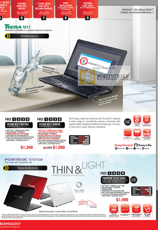 IT Show 2011 price list image brochure of Toshiba Notebooks Tecra M11 2010U 2003X Portege T210 T230 2001